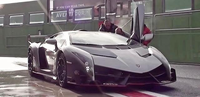 限定3台、1台3億円以上の「ランボルギーニ・ヴェネーノ」が雨のサーキットを走る!