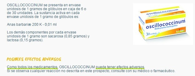 oscillococcinum adverse effects efectos adversos