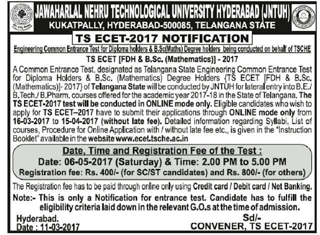 TElangana TS ECET Notification 2017