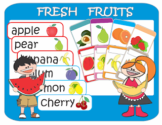 ESL Fruits Flash Cards Word Cards