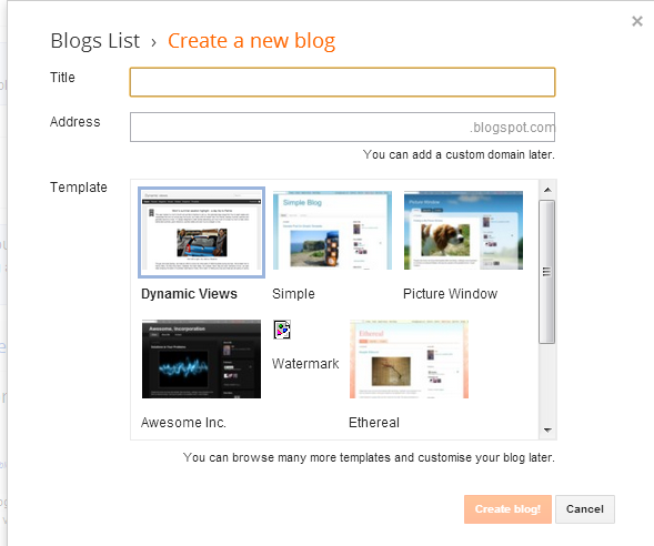 create blog on blogspot