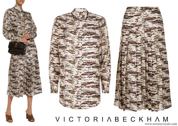 The Countess of Wessex wore Victoria Beckham Abstract Print Shirt and Midi Skirt