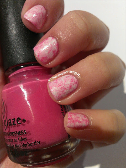Glittery White and Pink Saran Wrap - China Glaze 'White Cap'