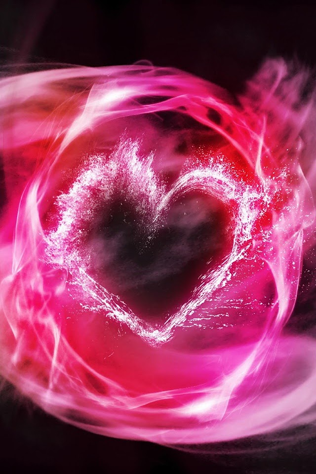 Pink Heart Of Smoke   Galaxy Note HD Wallpaper