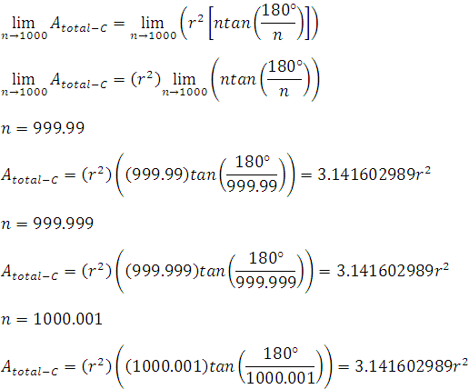 área de un polígono regular circunscrito usando la definición informal de límites usando n=1000
