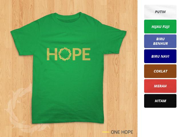 Tampilan kaos 'One Hope' berwarna hijau fuji