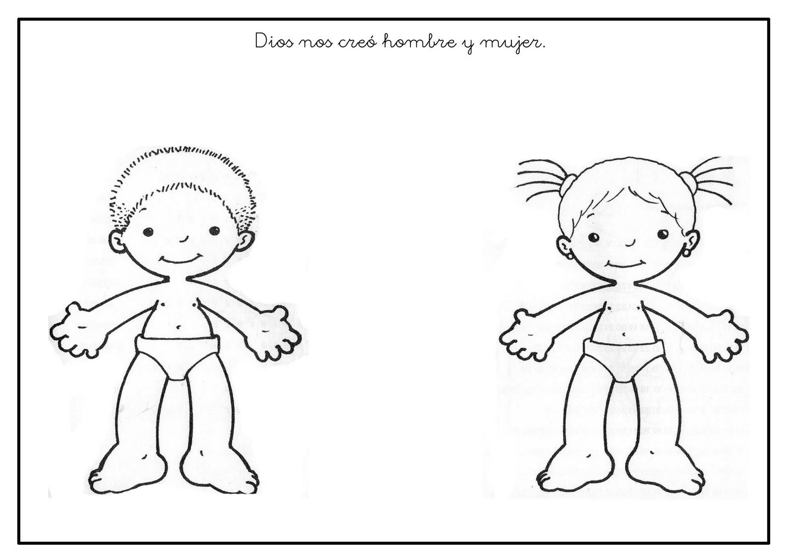 Dibujo Para Colorear Niño Y Niña: Ficha: Dios Nos Creó Hombre Y Mujer