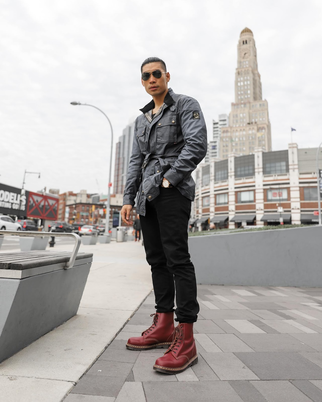 Leo Chan wearing Navy Field Jacket and Oxblood Dr Marten Combat Boots