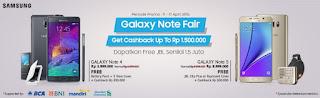 Bonus dan Cashback Pembelian Samsung Note 4 dan Note 5