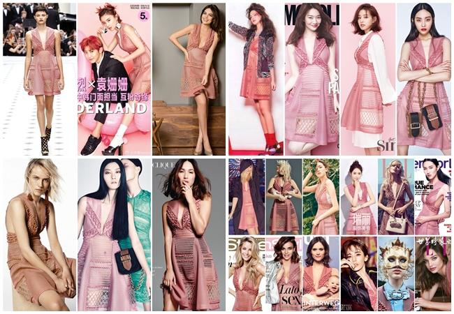 Burberry 粉色V領網洞小洋裝