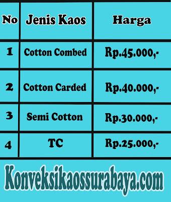 daftar harga sablon kaos di Surabaya, harga kaos sablon murah di Surabaya