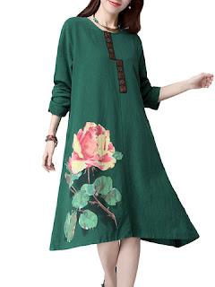 Maxi vestido con estampado de flor
