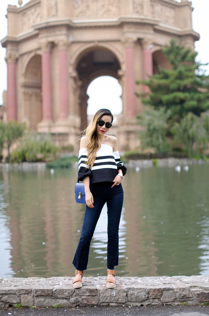 chicwish strip off shoulder top, Frame le high flare raw edge high rise crop jeans, cropped and flare jeans, kendra scott earrings, celine classic box bag, platform sandals, karen walker harvest sunglasses, hermes bracelet, san francisco street style, san francisco palace of fine arts