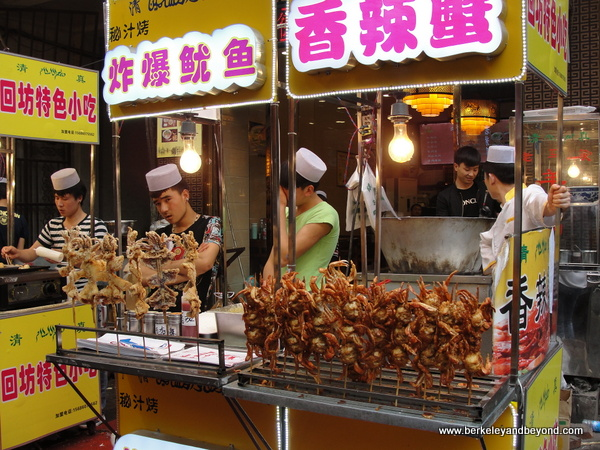 squid and crab kabobs in Muslim Quarter in Xi'an, China