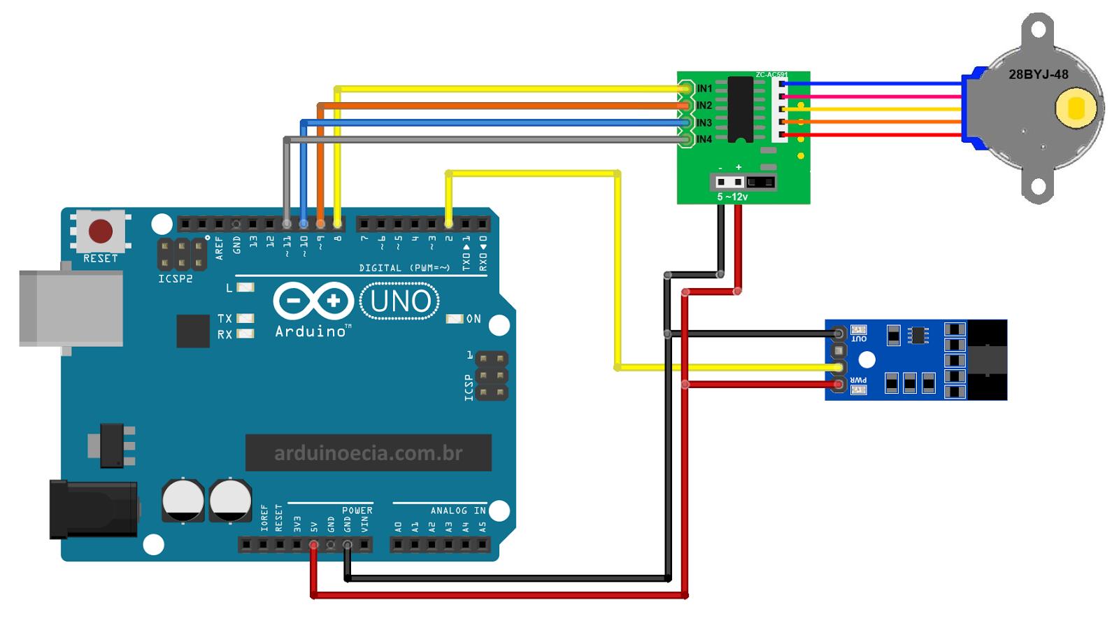 Arduino - Motor de passo 28BYJ-48 e Sensor de velocidade