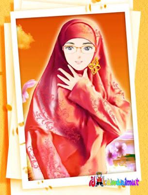 gambar kartun muslimah cantik berkacamata