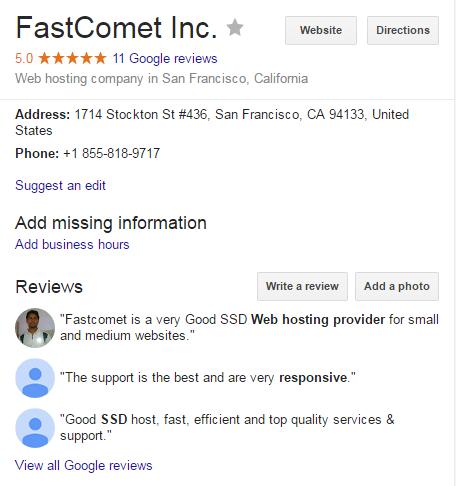 Testimonials, FastComet