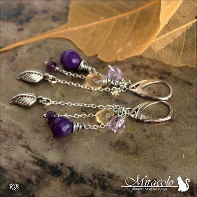 Miracolo, fioletowy chalcedon, cytryn, ametyst, earrings, chalcedony, citrine stone, amethyst
