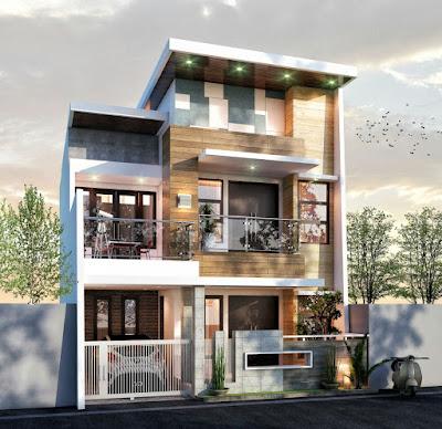 desain rumah 2 lantai , lebar 8m , type 210 milik pak