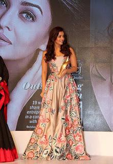 Aishwarya Rai Stunning Flower Print Sleeveless Deep neck Gown 7th Outlook Business Outstanding Women Awards 2016