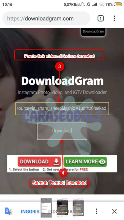 cara save video instagram tanpa aplikasi