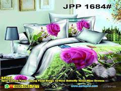 Sprei Custom Katun Jepang Panel Bunga 3D Rose Butterfly Tosca Hijau Dewasa