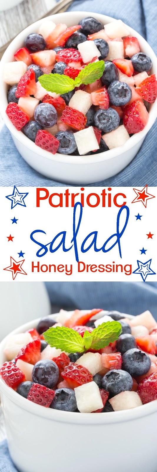 Patriotic Salad with Honey Poppy Seed Vinaigrette