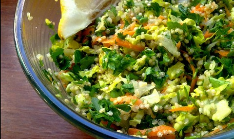 Quinoa and Carrot Salad with Lettuce and Parsley