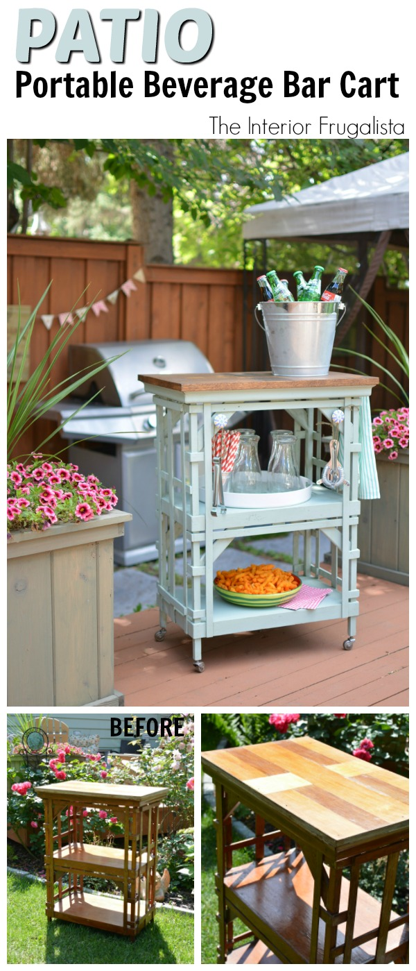 Outdoor Portable Beverage Bar Cart Before And After