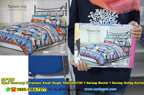 Sprei Tommony Doraemon Small Single 100x200xT20 1 Sarung Bantal 1 Sarung Guling Kartun Biru Anak Remaja