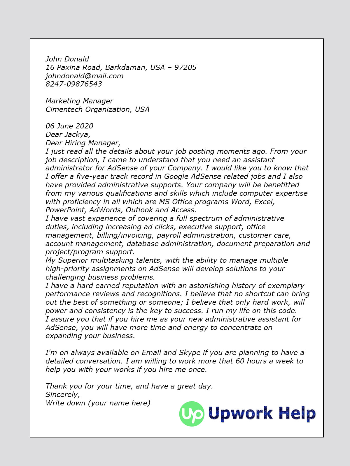 Cover Letter Sample for AdSense Marketing and PPC - Upwork Help