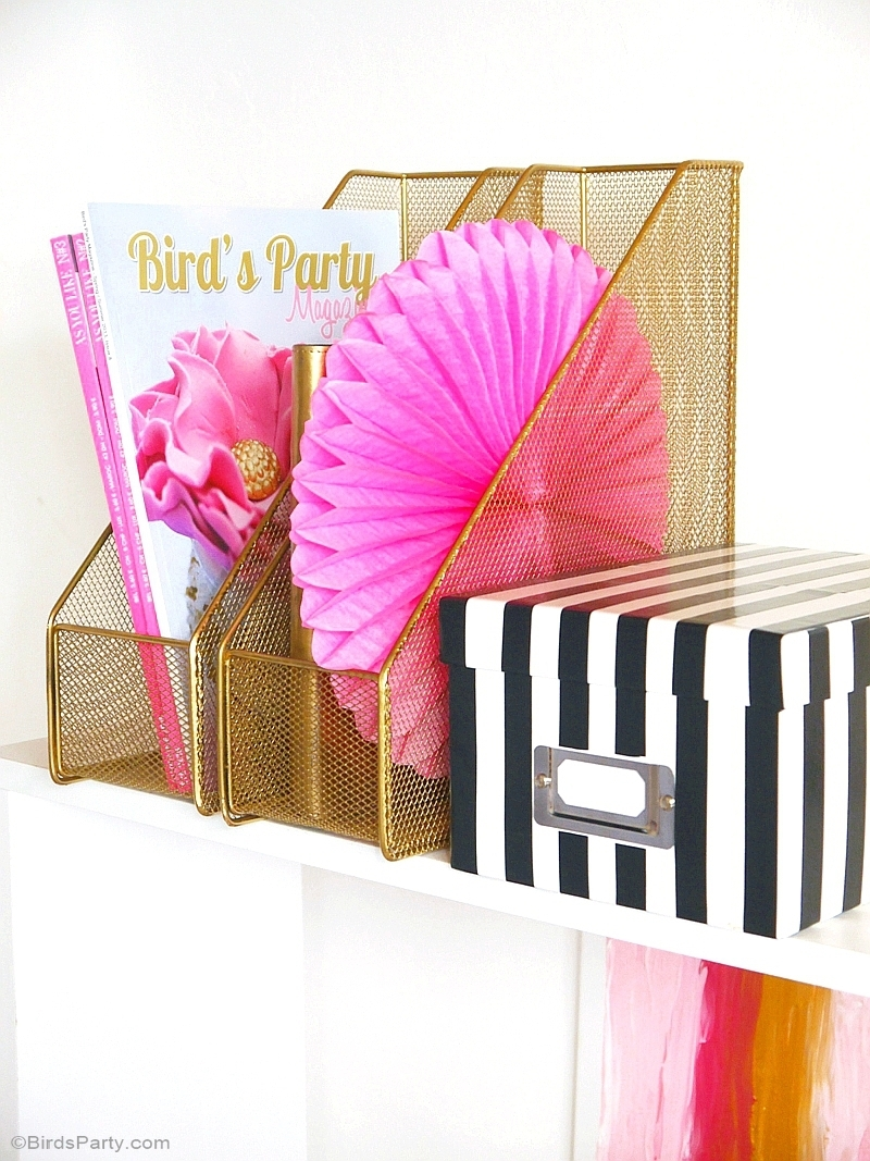 My Home Office Makeover - DIY decorations & ideas in pink, black, white and gold - BirdsParty.com