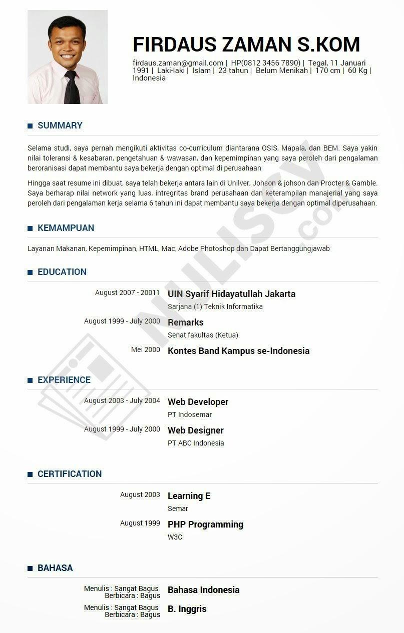 contoh resume lamaran kerja untuk fresh graduate quotes