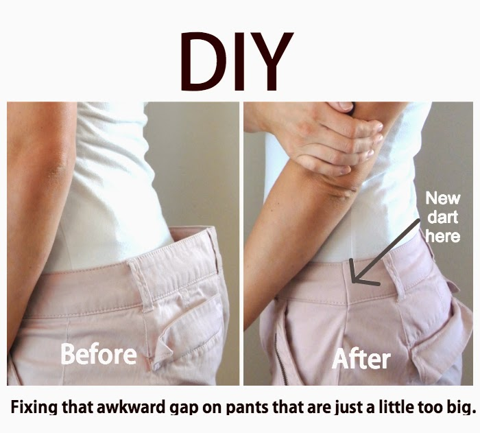 How to Fix a Waist Gap tutorial featured by top US sewing blogger, Kara Metta | Know that awkward gap you sometimes get with pants? This post explains how to fix it in less than 30 minutes. Tons of great diy ideas on this blog. // While Camden Sleeps