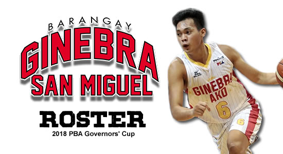 LIST: Brgy. Ginebra San Miguel Roster 2018 PBA Governors' Cup