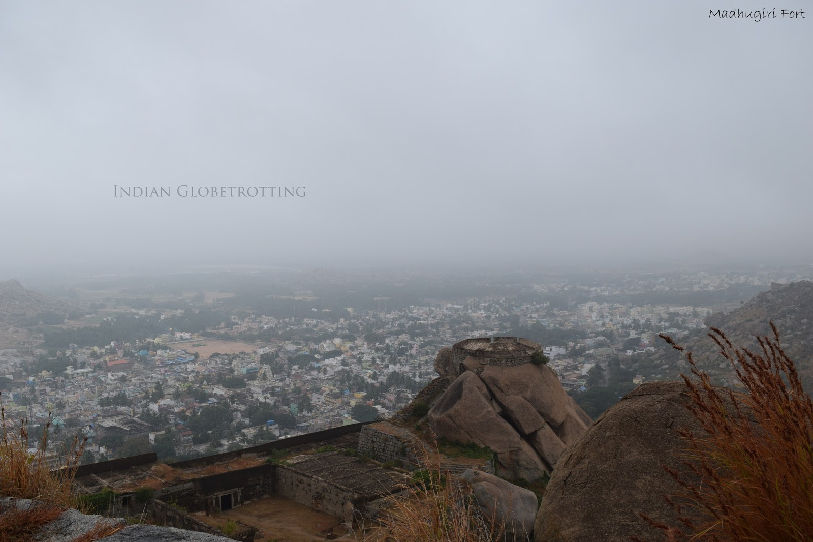 a view from Madhugiri Fort during the initial part of the trekking