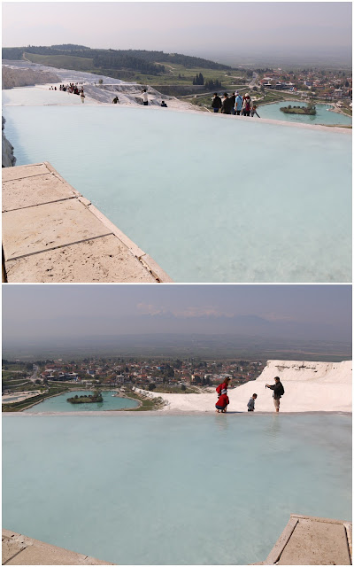Spectacular view while soaking our feet in the thermal pools at Pamukkale, Turkey