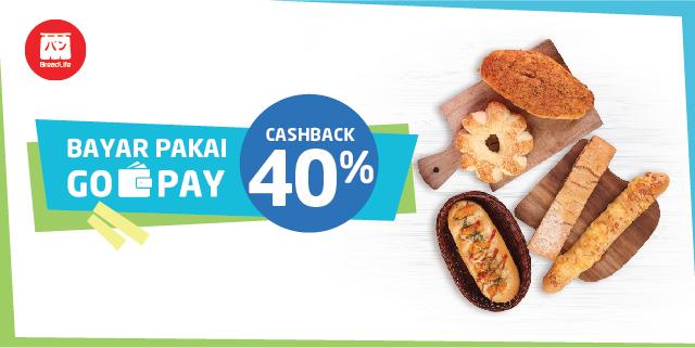 Gojek - Promo Cashback 40% di BreadLife Pakai GO-PAY (s.d 31 Okt 2018)