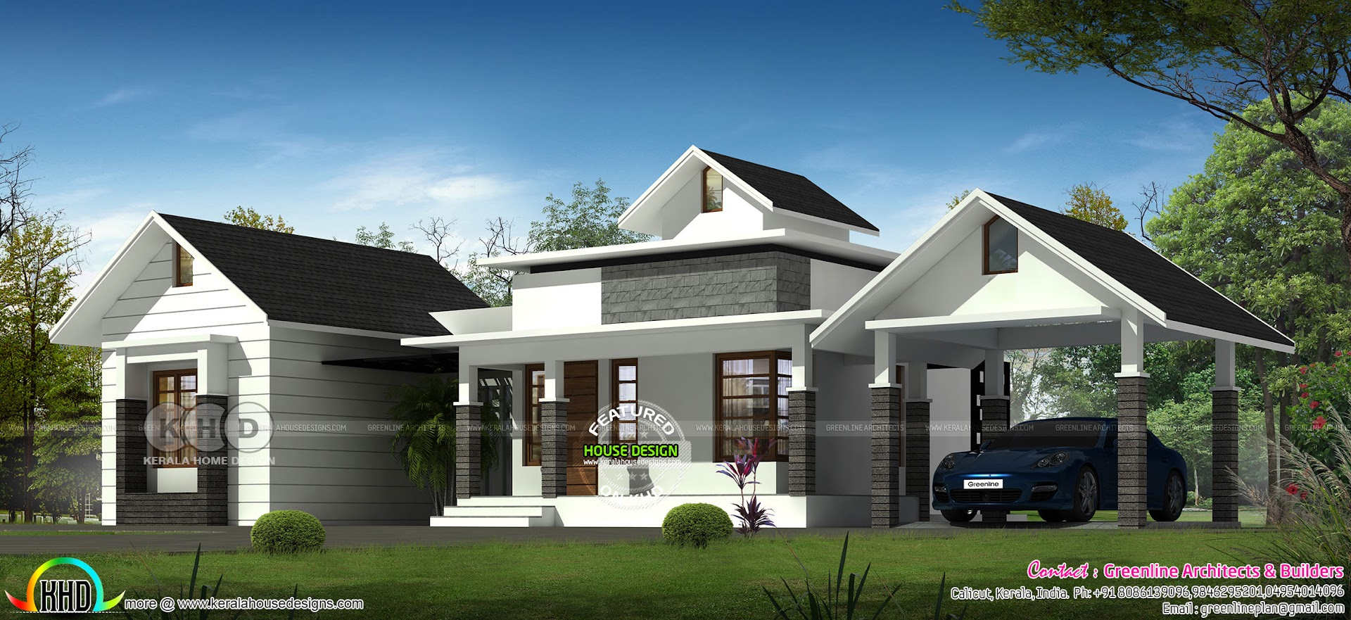 3 Bhk Single Floor Sloping Roof House Kerala Home Design