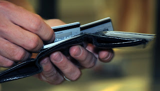 Choosing a credit card from a wallet