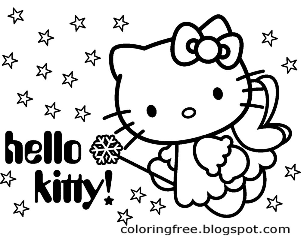 Simple Wallpaper Background Night Sky Stars Flying Pretty Little Angle Hello  Kitty Cartoon Drawing