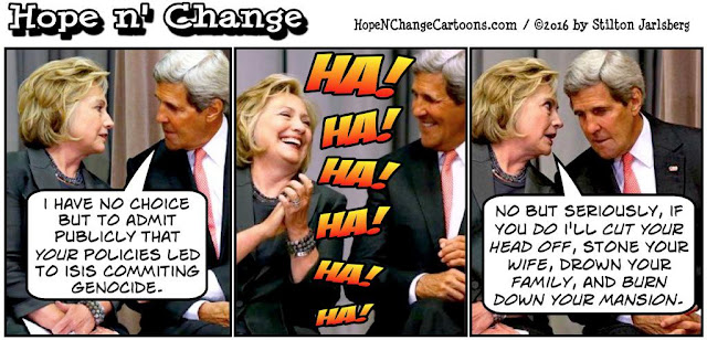 obama, obama jokes, political, humor, cartoon, conservative, hope n' change, hope and change, stilton jarlsberg, isis, genocide, kerry, hillary