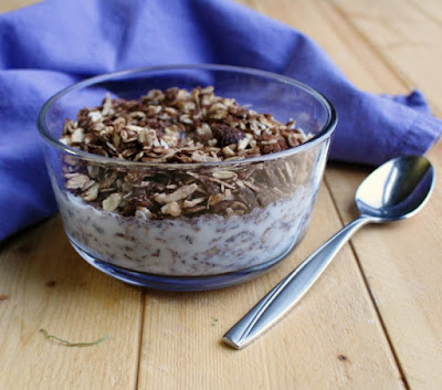 small bowl of chocolate granola with milk