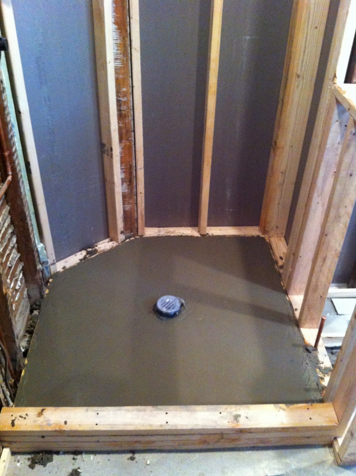 The Floor Lord Wetbed And Framing In Custom Shower Stall