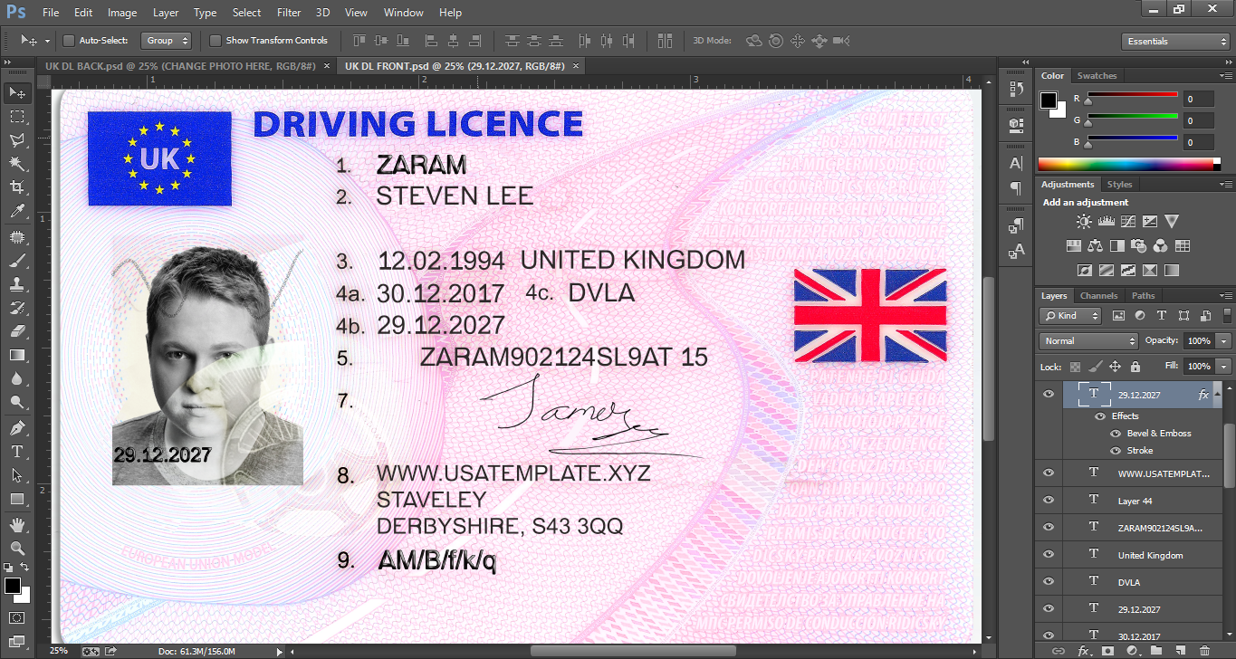 free drivers license templates photoshop