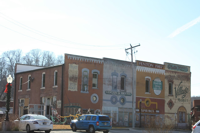 Painted town store fronts in French Lick, Indiana