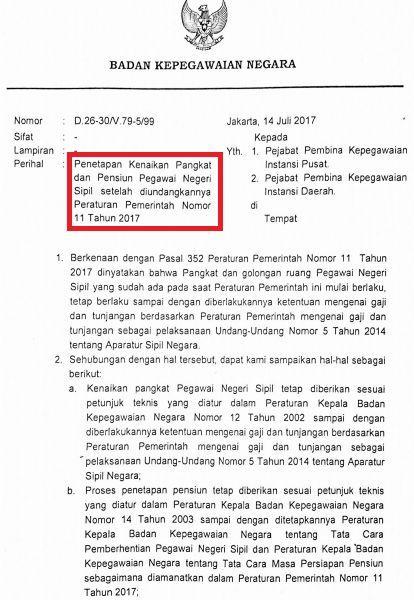 gambar Surat Edaran Kepala BKN Tentang Penetapan Kenaikan Pangkat dan Pensiunan PNS Setelah Diundangkannya PP No 11 Tahun 2017