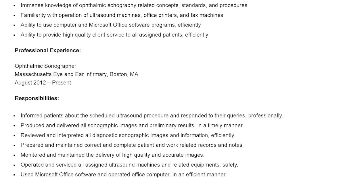 resume samples  sample ophthalmic sonographer resume