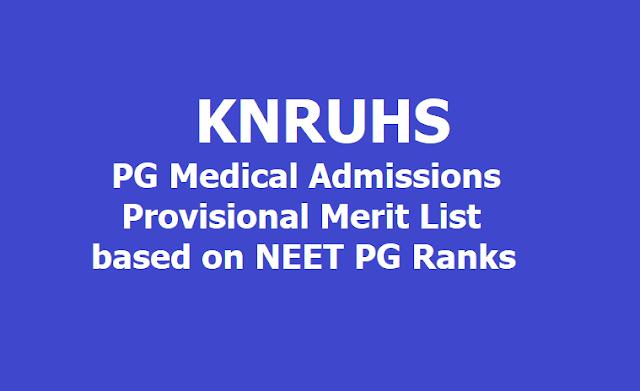KNRUHS PG Medical Admissions Provisional Merit List based on NEET PG 2019 Ranks