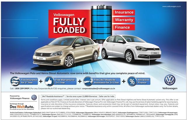 Volkswagen Fully Loaded | Free Insurance, Warranty, Finance | August 2016 discount offers